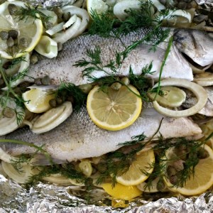 Steamed Sea Bass with Fennel and Capers